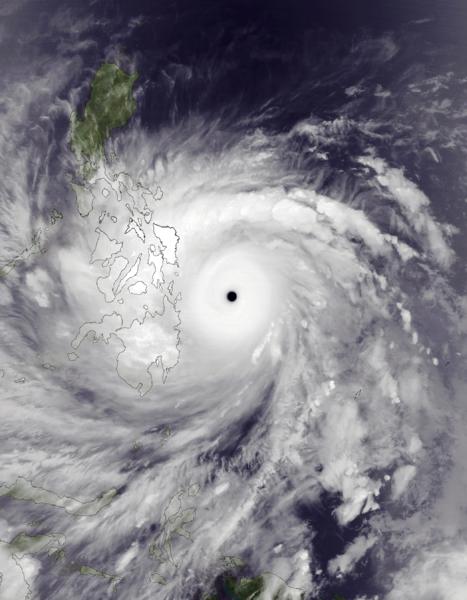 Taifun Haiyan am 7. November, beim Erreichen seines Höhepunkts
